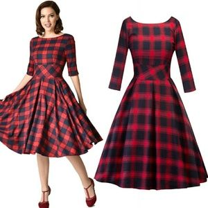 🆕⭐ Buffalo plaid red black swing dress⭐